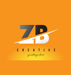 Zb z b letter modern logo design with yellow vector