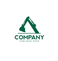 Excavators construction machinery logo vector