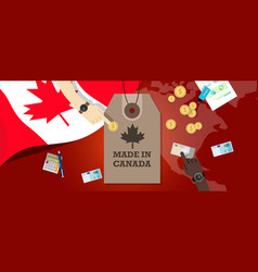 Made in canada price tag badge export vector