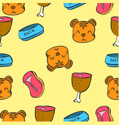 pattern cute cat colorful collection vector image
