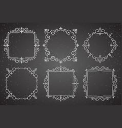 Set of victorian vintage decoration frames vector