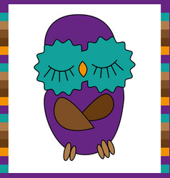 sleeping cute funny owl hand drawn vector image vector image
