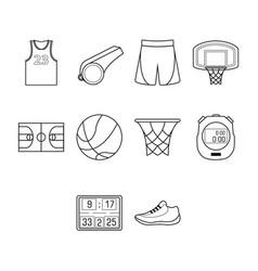 Thin line basketball icon set vector