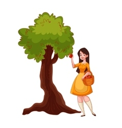 Young beautiful woman picking apples in the garden vector