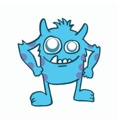 Blue monster kids t-shirt design vector