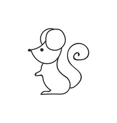 Doodle mouse animal icon vector image