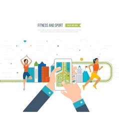 Mobile phone - fitness app concept on touchscreen vector image vector image
