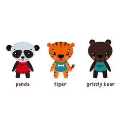 Panda or koala grizzly bear and tiger animals vector image