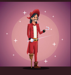 Pirate man costume party in spotlight background vector