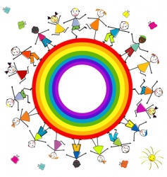 rainbow children vector image vector image