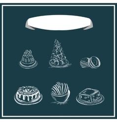 Sweet menu chalked on a blackboard design vector image