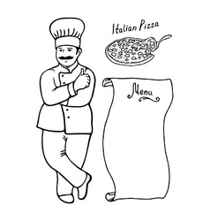 Cook Italian Pizza Menu black contour vector image