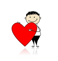 Cute boy with valentine heart place for your text vector image