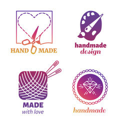 handmade hipster logo and emblems vector image vector image