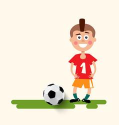 boy with football ball flat design soccer sport vector image vector image