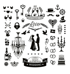 Collection of wedding icons and elements vector