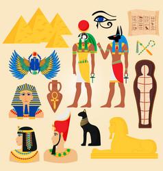 egypt symbols and landmarks ancient pyramids vector image