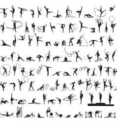 set of silhouettes Rhythmic Gymnastics vector image vector image