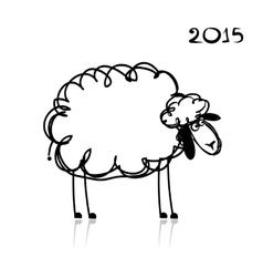 Sheep sketch symbol of new year 2015 vector image vector image