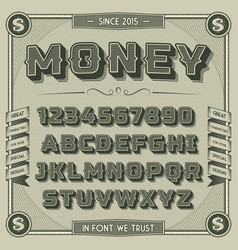 Vintage Money Font with shadow vector image vector image