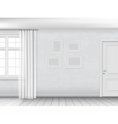 White interior with window and door vector image