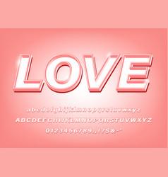 3d pink alphabet love bold font vector image