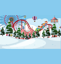 a circus winter landscape vector image