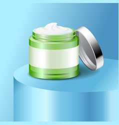 Aloe cream plastic jar skin care product vector