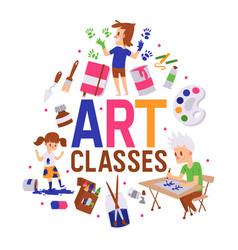 art classes banner girl vector image