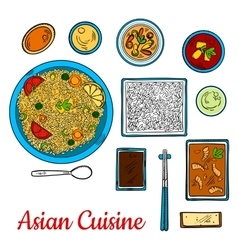 Asian cuisine sketch with seafood and rice dishes vector