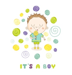Baby shower or arrival card - boy with candy vector