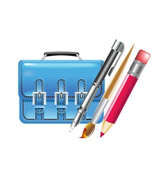 Bag and pen vector
