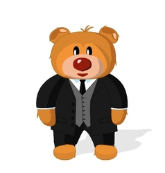 Bear toy in coat vest and trousers on a white ba vector image