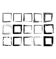 black frames set square shaped old grungy borders vector image