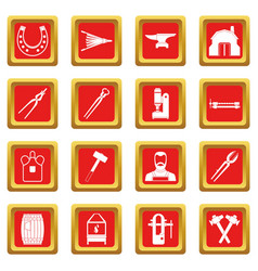 Blacksmith icons set red vector
