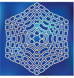 blue grid mosaic hexagon snowflake papercut vector image