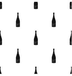 bottle of champagne icon in black style isolated vector image
