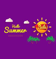 bright flyer hello summer banner sale summer vector image