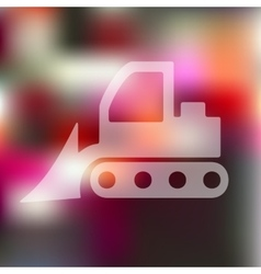Bulldozer icon on blurred background vector