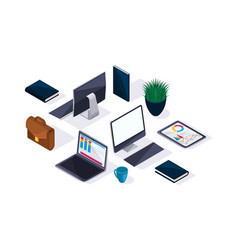 business accessories isometric beautiful concept vector image