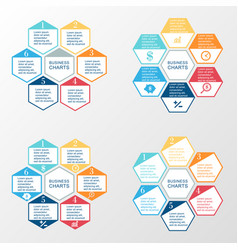 Business infographic hexagon set vector