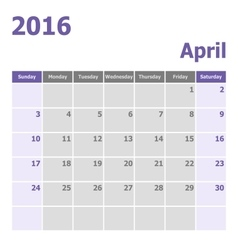 Calendar April 2016 week starts from Sunday vector image