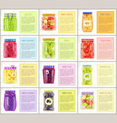 Canned and pickled fruit and vegetable poster vector