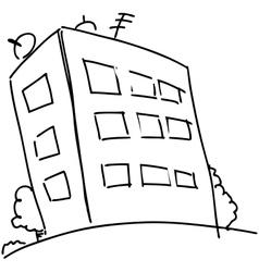 Cartoon block of flats vector image