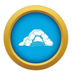 Cave icon blue isolated vector