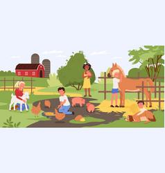 Children in contact zoo happy kids and animals vector
