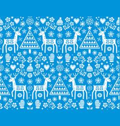 christmas folk art seamless deer pattern vector image