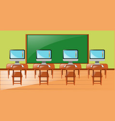 Classroom with four computers on desk vector