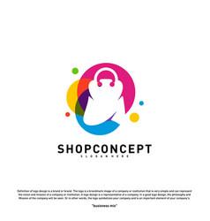 colorful shop logo design concept shopping center vector image