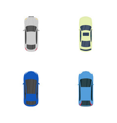 colorful vehicles with top view flat icons vector image